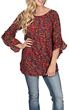 Pink Cattlelac Women's Paisley Printed Red Top