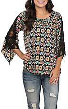 Pink Cattlelac Women's Black with Multi Ikat Print 3/4 Bell Sleeves with Lace Fashion Top