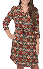 Pink Cattlelac Women's Orange and Grey Aztec Print 3/4 Sleeve Button Down Dress