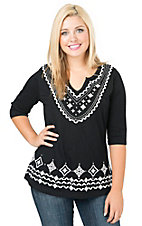 Pink Cattlelac Women's Black with White Aztec Embroidery & Studs 3/4 Sleeve Knit Top