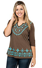 Pink Cattlelac Women's Chocolate with Turquoise Aztec Embroidery & Studs 3/4 Sleeve Knit Top