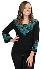 Pink Cattlelac Women's Black with Turquoise Screen Print Embroidery 3/4 Sleeve Top