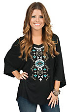 Pink Cattlelac Women's Black with Studded Aztec Print 3/4 Dolman Sleeve Knit Top