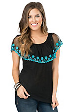 Pink Cattlelac Women's Black with Turquoise Embroidered Tulle Overlay Sleeveless Top
