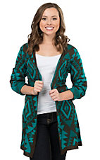 Pink Cattlelac Women's Turquoise and Chocolate Brown Aztec Print Long Sleeve Cardigan