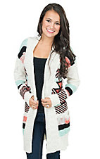 Pink Cattlelac Women's White with Coral, Turquoise and Black Aztec Print Long Sleeve Cardigan