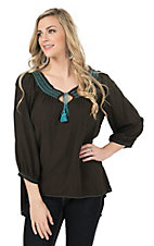 Pink Cattlelac Women's Chocolate with Turquoise Embroidery 3/4 Sleeve Peasant Top