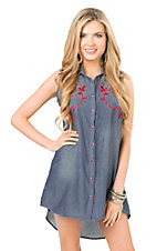Pink Cattlelac Women's Denim with Red Embroidery Sleeveless Western Dress