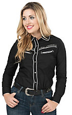 Pink Cattlelac Women's Black with Rhinestones Long Sleeve Retro Western Shirt