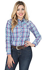 Pink Cattlelac Women's Blue & Pink Plaid with Blue Embroidery Long Sleeve Retro Western Shirt