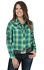 Pink Cattlelac Women's Green & Turquoise Plaid with Chocolate Embroidery Long Sleeve Retro Western Shirt
