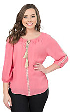 Pink Cattlelac Women's Coral with Embroidery 3/4 Sleeve Peasant Top