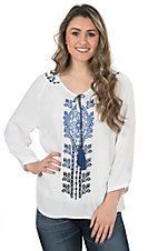 Pink Cattlelac Women's Ivory with Blue Aztec Embroidery 3/4 Sleeve Peasant Top