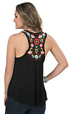 Pink Cattlelac Women's Black with Floral Embroidery Knit Tank Top