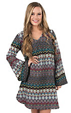 Cattlelac Ranch Women's Multicolor Arrow Print Long Bell Sleeve Dress