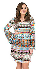 Cattlelac Ranch Women's Multicolor Stained Glass Print Long Bell Sleeve Dress