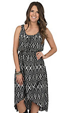Pink Cattlelac Women's Black & White Aztec Sleeveless Hi-Lo Dress