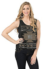 Cattlelac Ranch Women's Black with Aztec Studs Sleeveless Casual Knit Top