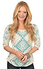 Pink Cattlelac Women's Cream & Turquoise Aztec Print with Rhinestones 3/4 Sleeve Knit Top