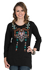 Pink Cattlelac Women's Black with Aztec Embroidered Neckline Long Sleeve Casual Knit Top