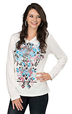 Pink Cattlelac Women's Cream with Blue and Burgundy Studded Aztec Screen Print Long Sleeve Casual Knit Top