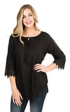 Pink Cattlelac Women's Black Lace Trimmed Long Sleeve Peasant Fashion Top