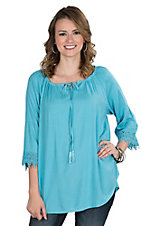 Pink Cattlelac Women's Turquoise Lace Trimmed Long Sleeve Peasant Fashion Top