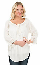 Pink Cattlelac Women's Cream Lace Trimmed Long Sleeve Peasant Fashion Top