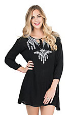 Pink Cattlelac Women's Black with White Native Embroidery Long Cinched Sleeve Dress