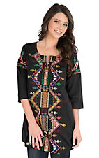 Pink Cattlelac Women's Black with Multi Colored Embroidery 3/4 Sleeve Tunic Top