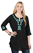 Pink Cattlelac Women's Black with Teal Embroidered Neckline 3/4 Sleeve Tunic Fashion Top