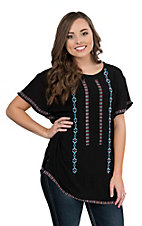 Pink Cattlelac Women's Black with Turquoise and Red Aztec Embroidered Short Sleeve Fashion Top