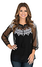 Pink Cattlelac Women's Black Mesh with White Embroidery and Long Cinched Sleeves Smocked Fashion Top