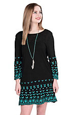 Pink Cattlelac Women's Black with Turquoise Embroidery Long Sleeve Tunic Dress
