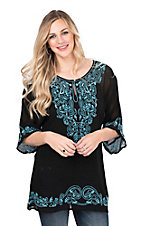 Pink Cattlelac Women's Black with Turquoise Emboidery 3/4 Sleeve Sheer Tunic Fashion Top