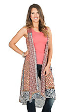 Pink Cattlelac Women's Coral Patchwork Sleeveless Vest