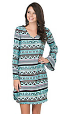 Pink Cattlelac Women's Turquoise Aztec Print Long Bell Sleeve Tunic Dress
