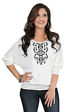 Pink Cattlelac Women's White with Black Aztec Embroidery 3/4 Sleeve Dolman Fashion Top