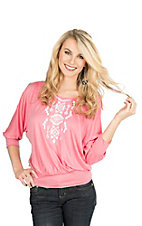 Pink Cattlelac Women's Pink with White Aztec Embroidery 3/4 Sleeve Dolman Fashion Top