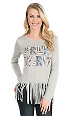 Pink Cattlelac Women's Grey with Free Spirit Screen Print and Fringe on Bottom Hem Long Sleeve Casual Knit Shirt