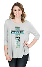Pink Cattlelac Women's Grey with Turquoise and Yellow Cross Screen Print 3/4 Sleeve Casual Knit Tunic Top