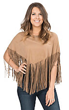 Pink Cattlelac Women's Tan Faux Suede with Studs and Fringe Poncho