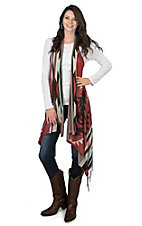 Pink Cattlelac Women's Rust Aztec Print Sweater Duster Vest