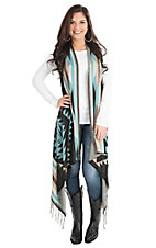 Pink Cattlelac Women's Turquoise Aztec Print Sweater Duster Vest