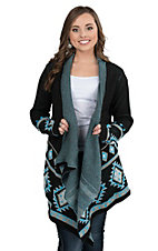 Pink Cattlelac Women's Black with Turquoise Aztec Print Long Sleeve Sweater Cardigan