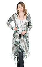 Pink Cattlelac Women's Grey and Teal Striped Long Sleeve Long Cardigan