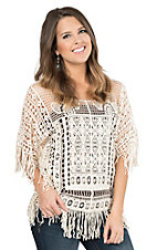 Pink Cattlelac Women's Cream Crochet with Fringe Hems 1/2 Sleeve Fashion Top
