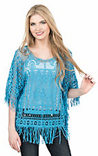 Pink Cattlelac Women's Turquoise Crochet with Fringe Hems 1/2 Sleeve Fashion Top