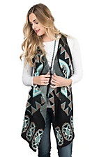 Pink Cattlelac Women's Black with Turquoise Aztec Print Sleeveless Sweater Vest