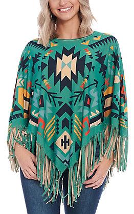 Montana West Women's Turquoise Aztec Poncho